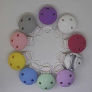 Chupetero Silicona Pinza Plástico (Color A Elegir)