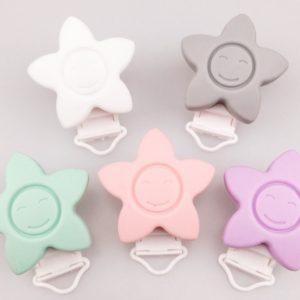 Chupetero Estrella Pinza Plástico (Color A Elegir)